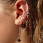 Ear Cuff With Chain And Bl..
