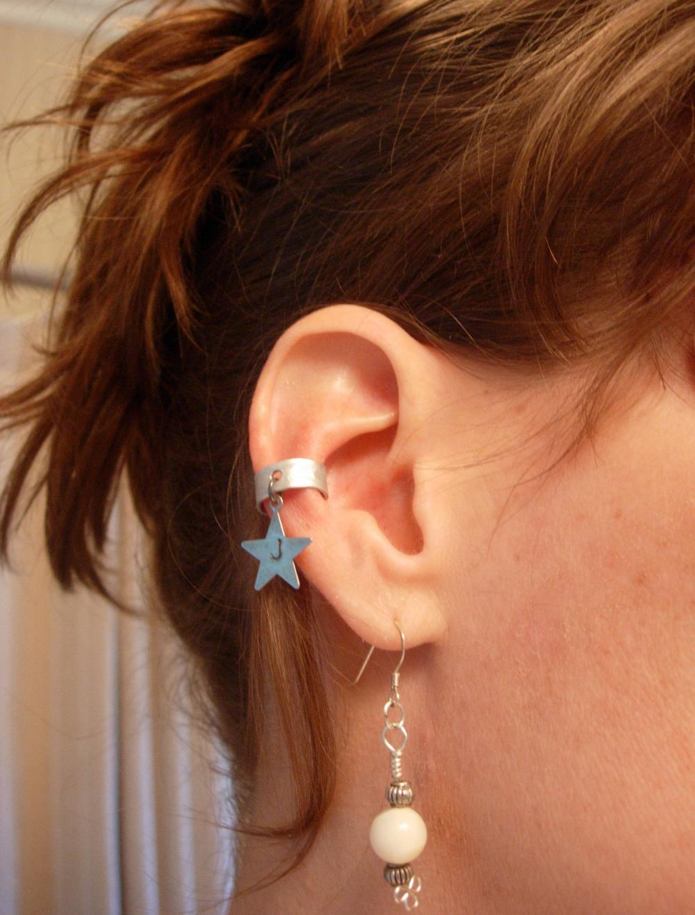 Ear Cuff, Hand Hammered Aluminum with a Personalized stamped metal Star Charm