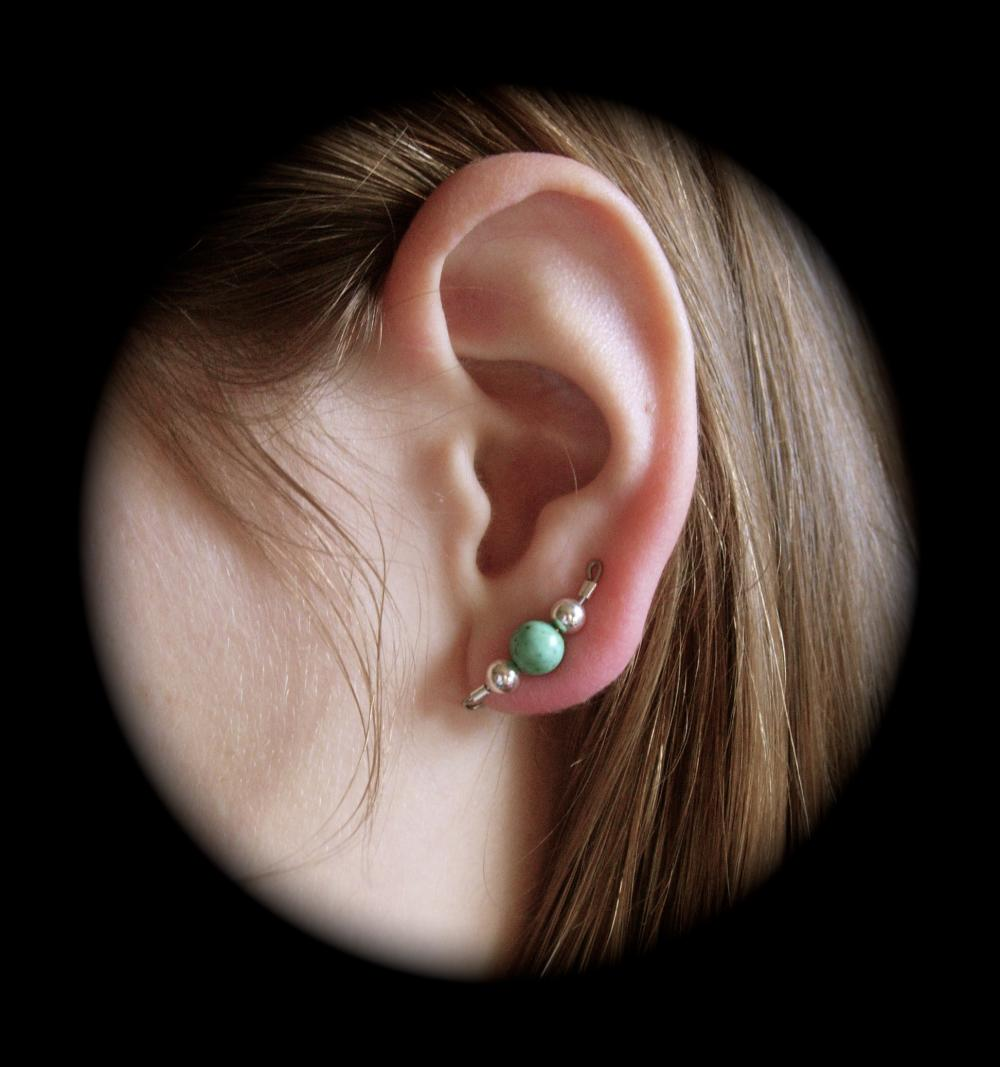 Versatile Style Turquoise and Silver Ear Pins, Ear Climbers, Ear Sweeps, Clip On, or Pierced Earrings