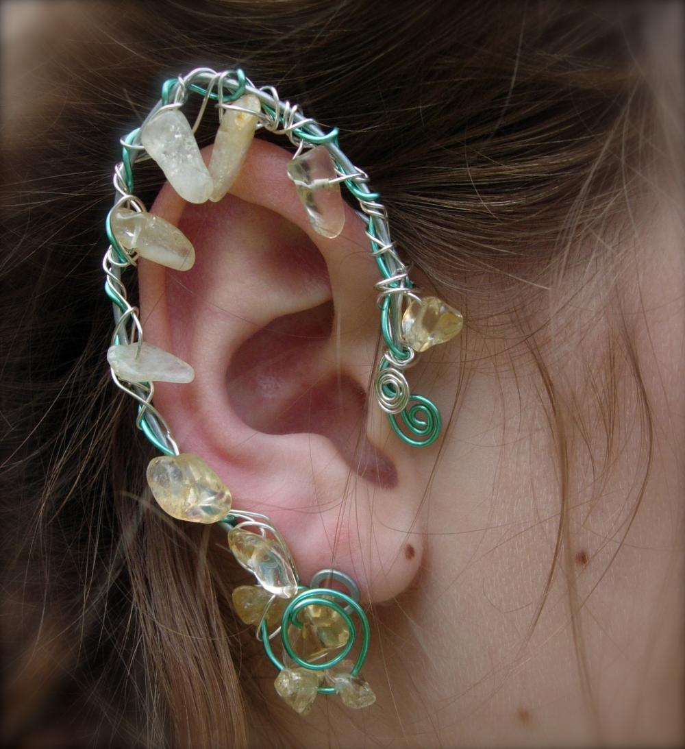 Elf Ear Cuffs with Genuine Citrine Fantasy Jewelry for any occasion