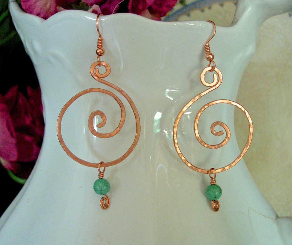 Natural Copper and Turquoise Hand Hammered Spiral Earrings, Pierced, Bold, Modern, Organic