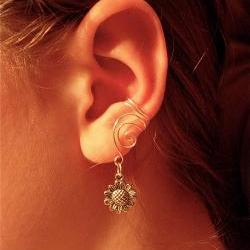 Pair of Silver Plated Ear Cuffs with Whimsical Sunflower Charms  