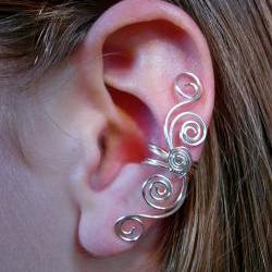 Silver Plated Multi Swirl Ear Cuff  