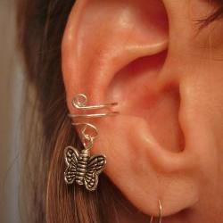 Ear Cuff, Dainty and Feminine Silver Cuff with Butterfly Charm  