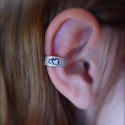 Ear Cuff, Hand Hammered Aluminum with a cute double heart stamped into the metal and blackened
