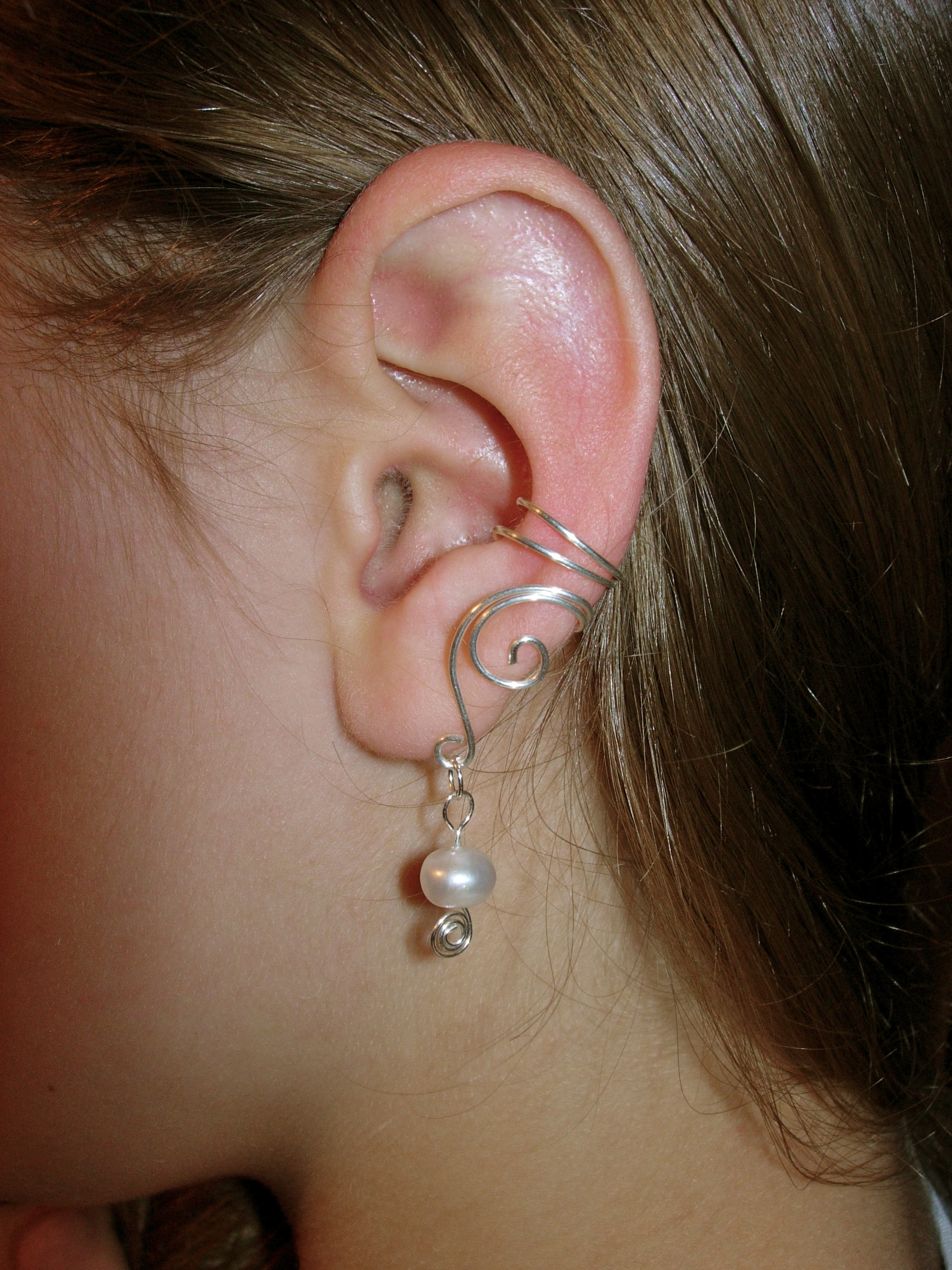 pair of solid sterling silver ear cuffs with genuine fresh. Black Bedroom Furniture Sets. Home Design Ideas