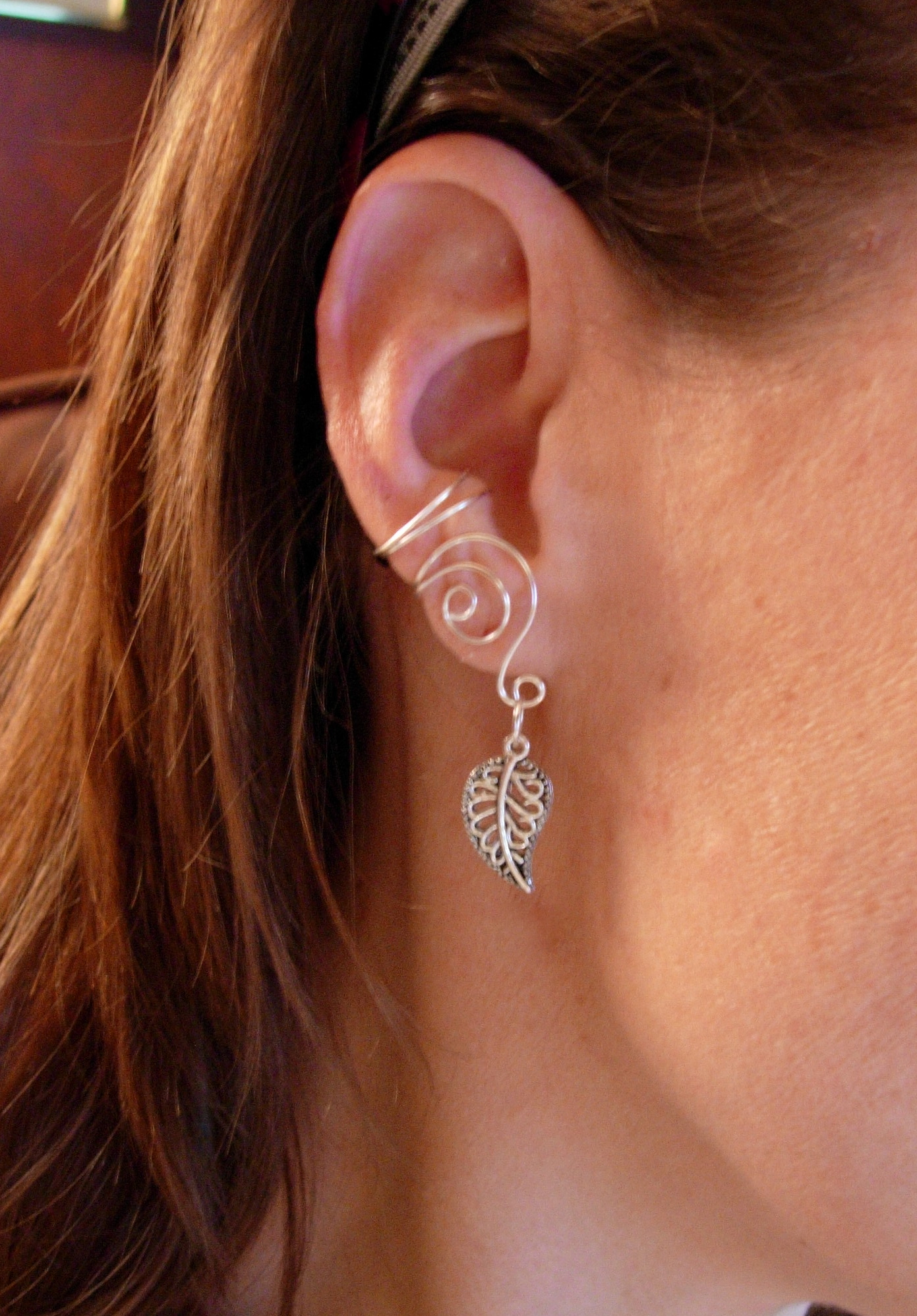 pair of silver plated ear cuffs with antiqued silver leaf. Black Bedroom Furniture Sets. Home Design Ideas