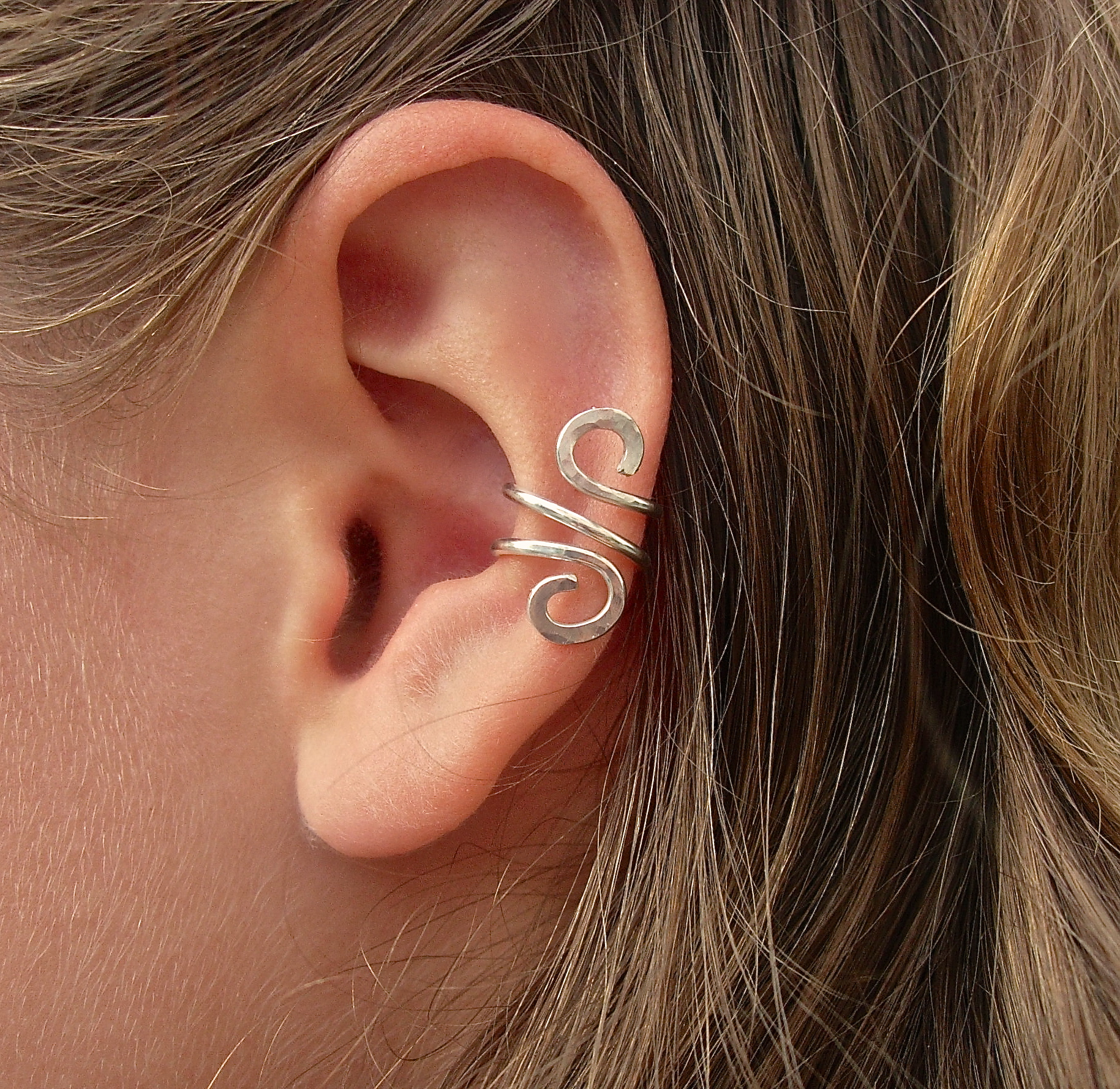 hand hammered silver filled ear cuff on luulla
