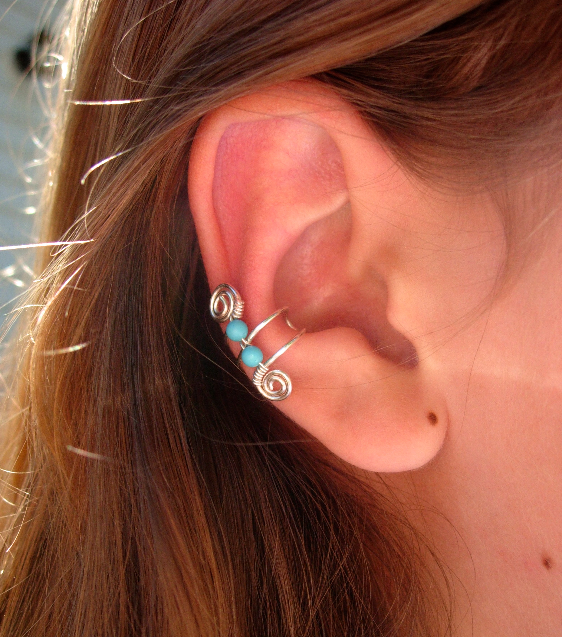 single silver plated ear cuff with double turquoise 3mm. Black Bedroom Furniture Sets. Home Design Ideas